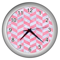 Chevron1 White Marble & Pink Watercolor Wall Clocks (silver)  by trendistuff