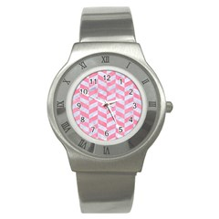 Chevron1 White Marble & Pink Watercolor Stainless Steel Watch by trendistuff