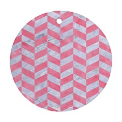 Chevron1 White Marble & Pink Watercolor Round Ornament (two Sides) by trendistuff