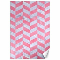 Chevron1 White Marble & Pink Watercolor Canvas 12  X 18   by trendistuff
