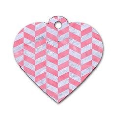 Chevron1 White Marble & Pink Watercolor Dog Tag Heart (one Side) by trendistuff