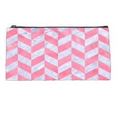 Chevron1 White Marble & Pink Watercolor Pencil Cases