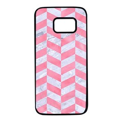 Chevron1 White Marble & Pink Watercolor Samsung Galaxy S7 Black Seamless Case by trendistuff