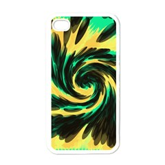 Swirl Black Yellow Green Apple Iphone 4 Case (white)