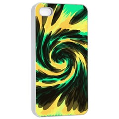 Swirl Black Yellow Green Apple Iphone 4/4s Seamless Case (white) by BrightVibesDesign