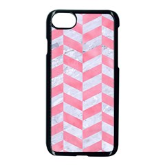 Chevron1 White Marble & Pink Watercolor Apple Iphone 8 Seamless Case (black)