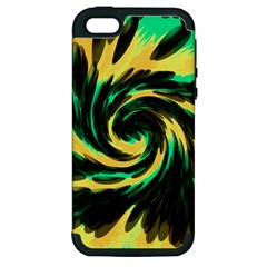 Swirl Black Yellow Green Apple Iphone 5 Hardshell Case (pc+silicone) by BrightVibesDesign