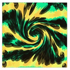 Swirl Black Yellow Green Large Satin Scarf (square) by BrightVibesDesign