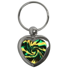 Swirl Black Yellow Green Key Chains (heart)