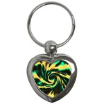 Swirl Black Yellow Green Key Chains (Heart)  Front