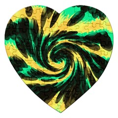 Swirl Black Yellow Green Jigsaw Puzzle (heart) by BrightVibesDesign