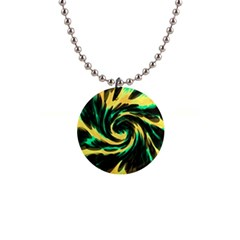 Swirl Black Yellow Green Button Necklaces by BrightVibesDesign