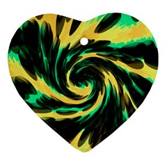 Swirl Black Yellow Green Heart Ornament (two Sides) by BrightVibesDesign