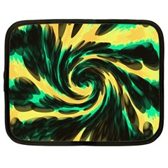 Swirl Black Yellow Green Netbook Case (large) by BrightVibesDesign