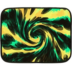 Swirl Black Yellow Green Double Sided Fleece Blanket (mini)  by BrightVibesDesign