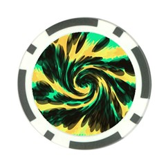 Swirl Black Yellow Green Poker Chip Card Guard (10 Pack) by BrightVibesDesign