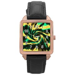 Swirl Black Yellow Green Rose Gold Leather Watch  by BrightVibesDesign