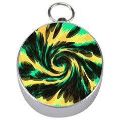 Swirl Black Yellow Green Silver Compasses by BrightVibesDesign