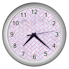 Brick2 White Marble & Pink Watercolor (r) Wall Clocks (silver)  by trendistuff