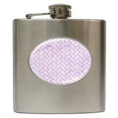 Brick2 White Marble & Pink Watercolor (r) Hip Flask (6 Oz) by trendistuff