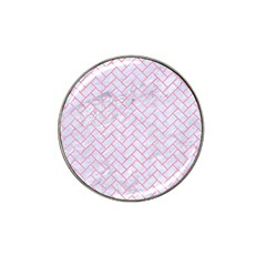 Brick2 White Marble & Pink Watercolor (r) Hat Clip Ball Marker (10 Pack) by trendistuff