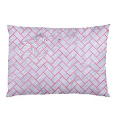 Brick2 White Marble & Pink Watercolor (r) Pillow Case by trendistuff