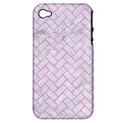 Brick2 White Marble & Pink Watercolor (r) Apple Iphone 4/4s Hardshell Case (pc+silicone) by trendistuff