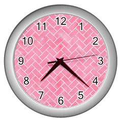 Brick2 White Marble & Pink Watercolor Wall Clocks (silver)  by trendistuff