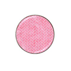 Brick2 White Marble & Pink Watercolor Hat Clip Ball Marker (4 Pack) by trendistuff