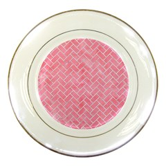 Brick2 White Marble & Pink Watercolor Porcelain Plates by trendistuff