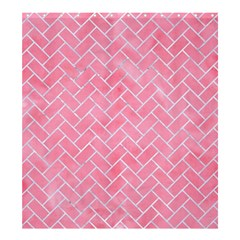 Brick2 White Marble & Pink Watercolor Shower Curtain 66  X 72  (large)