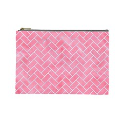 Brick2 White Marble & Pink Watercolor Cosmetic Bag (large)  by trendistuff