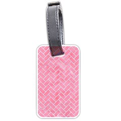 Brick2 White Marble & Pink Watercolor Luggage Tags (one Side)  by trendistuff