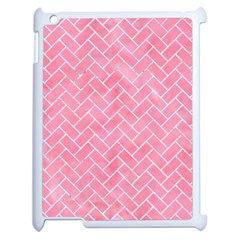 Brick2 White Marble & Pink Watercolor Apple Ipad 2 Case (white) by trendistuff