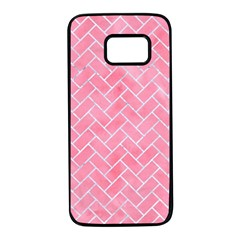 Brick2 White Marble & Pink Watercolor Samsung Galaxy S7 Black Seamless Case