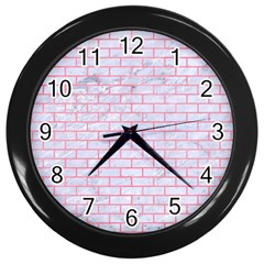 Brick1 White Marble & Pink Watercolor (r) Wall Clocks (black) by trendistuff