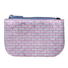 Brick1 White Marble & Pink Watercolor (r) Large Coin Purse