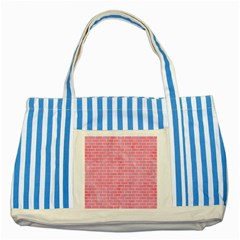 Brick1 White Marble & Pink Watercolor Striped Blue Tote Bag by trendistuff