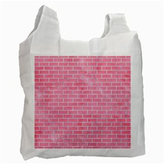Brick1 White Marble & Pink Watercolor Recycle Bag (two Side)  by trendistuff