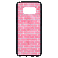 Brick1 White Marble & Pink Watercolor Samsung Galaxy S8 Black Seamless Case