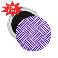 Woven2 White Marble & Purple Brushed Metal (r) 2 25  Magnets (100 Pack)  by trendistuff
