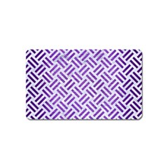 Woven2 White Marble & Purple Brushed Metal (r) Magnet (name Card) by trendistuff