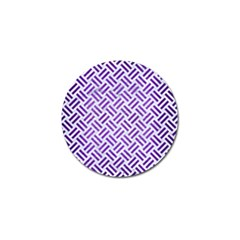 Woven2 White Marble & Purple Brushed Metal (r) Golf Ball Marker (4 Pack) by trendistuff