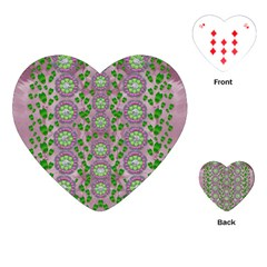 Ivy And  Holm Oak With Fantasy Meditative Orchid Flowers Playing Cards (heart)  by pepitasart