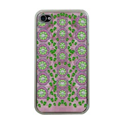 Ivy And  Holm Oak With Fantasy Meditative Orchid Flowers Apple Iphone 4 Case (clear) by pepitasart