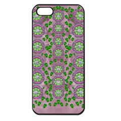 Ivy And  Holm Oak With Fantasy Meditative Orchid Flowers Apple Iphone 5 Seamless Case (black) by pepitasart