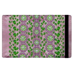 Ivy And  Holm Oak With Fantasy Meditative Orchid Flowers Apple Ipad 2 Flip Case by pepitasart