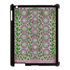 Ivy And  Holm Oak With Fantasy Meditative Orchid Flowers Apple Ipad 3/4 Case (black) by pepitasart