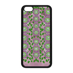 Ivy And  Holm Oak With Fantasy Meditative Orchid Flowers Apple Iphone 5c Seamless Case (black) by pepitasart