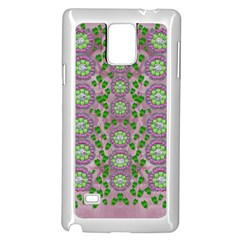 Ivy And  Holm Oak With Fantasy Meditative Orchid Flowers Samsung Galaxy Note 4 Case (white) by pepitasart